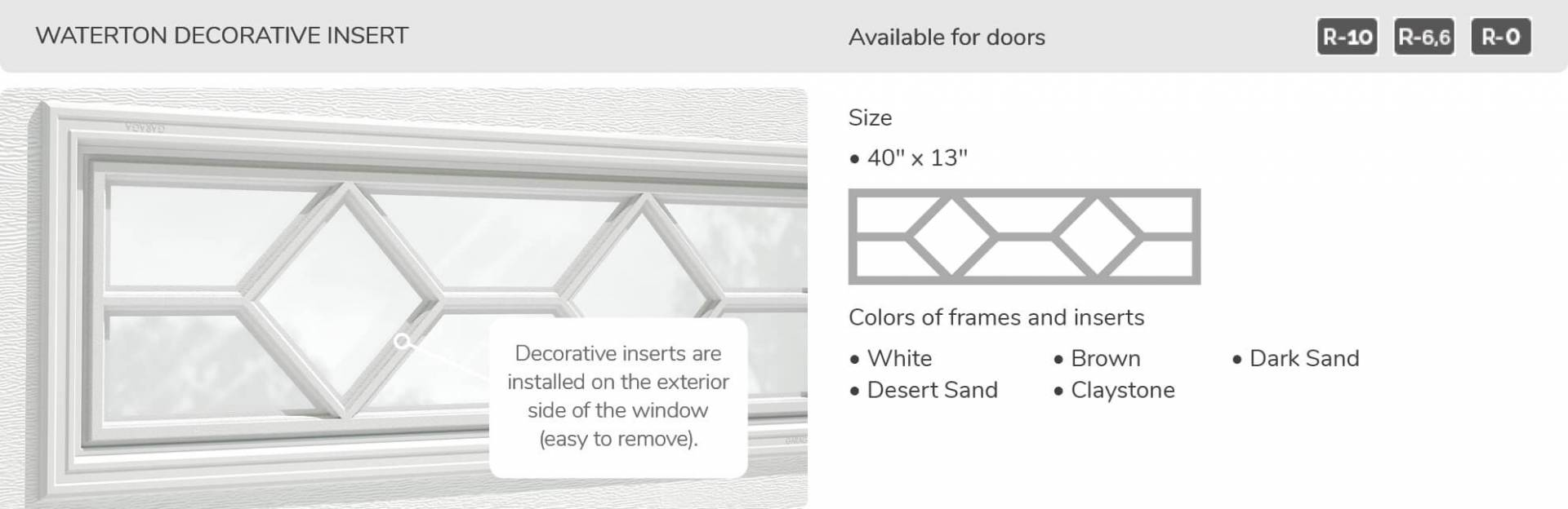 "Waterton Decorative Insert, 40"" x 13"", available for doors R-10, R-6.6, R-0"